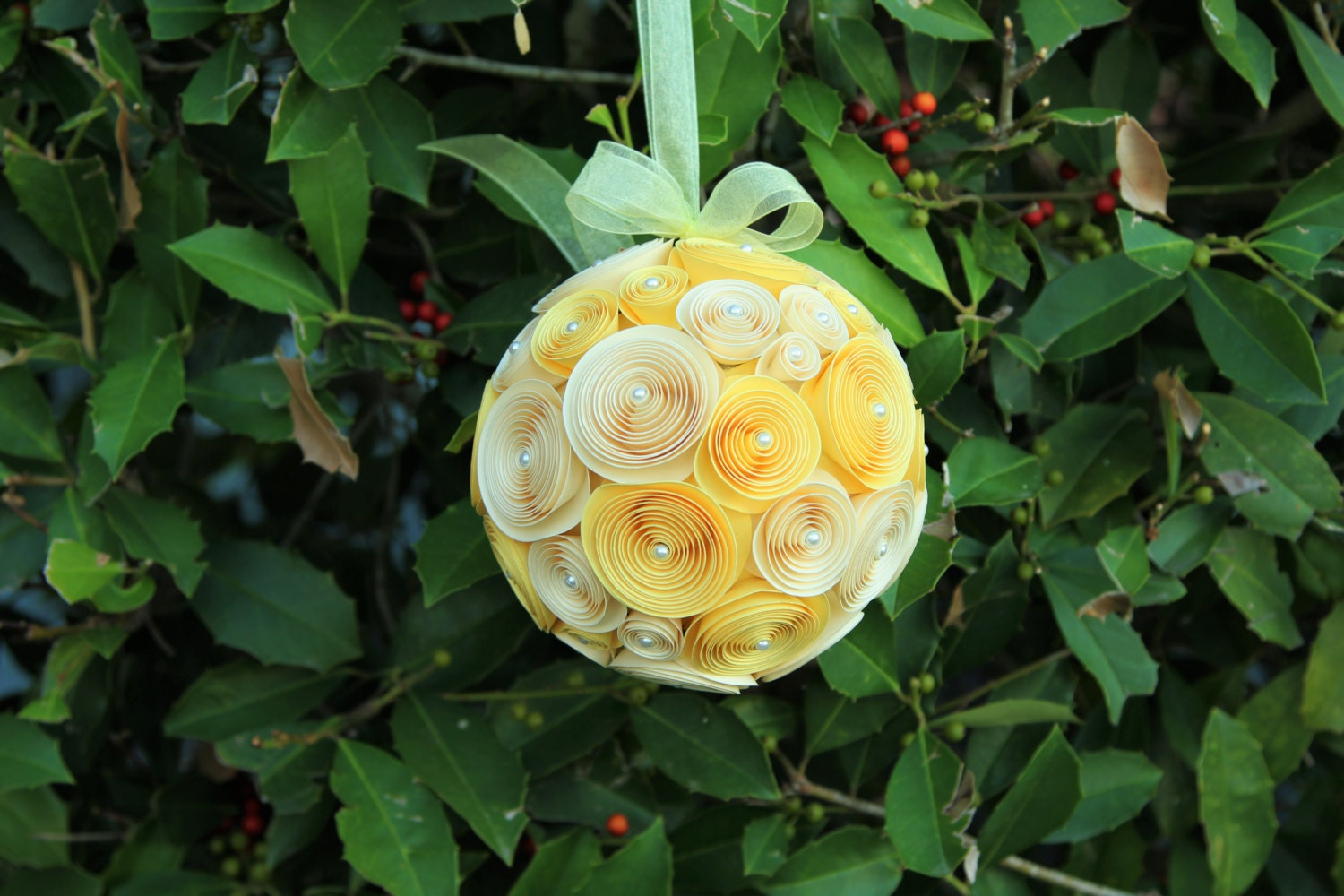 Awesome paper flower pomander ball pictures inspiration wedding wedding paper flower pomander ball vanilla yellow hanging floral mightylinksfo Choice Image