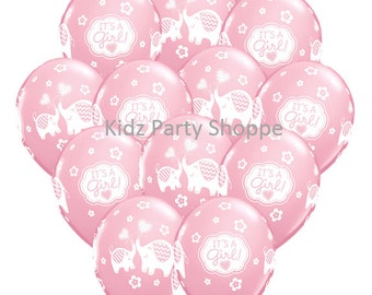"12ct It's A Girl ELEPHANT 11"" Latex Balloons Baby Shower Party Supplies Decoration Centerpiece Gender Reveal Ideas"