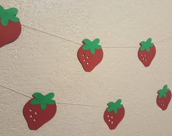 10 FEET STRAWBERRY GARLAND--3.5X3.5--Tea Party Garland--Summer Garland--Cupcake Toppers--Any Size--Any Color--Sold Seperate