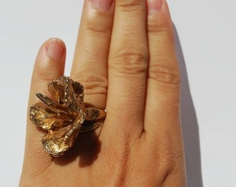 Adela Flower Ring- Large flower ring, Sculpture ring, Statement ring, Unique ring, Flower Ring, Modernist ring, Bronze ring