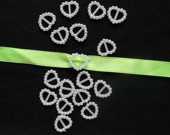 Pearl Ribbon Buckles/Slider Heart Shaped Wedding Invitation Decoration
