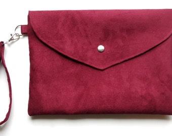 Large plum bordeaux fabric evening bag