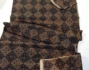 """Vintage Batik in rich brown blue print very ethnic looking cotton 38"""" wide 2 1/2 yards- free shipping too"""