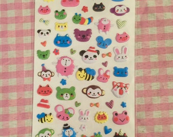 Kawaii Animals Puffy Stickers