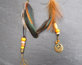 Peace and Love - Feather cock - Orange and Black - asymmetrical earrings