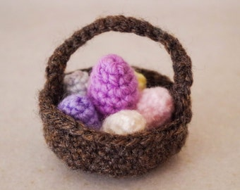 Crochet Easter basket - pastel eggs in mixed colours, or any colour you request. Hand made amigurumi tiny eggs with or without basket.