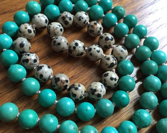 Hand-Knotted 8mm Green Turqouise and Dalmatian Jasper Necklace