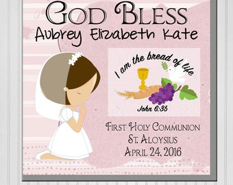 Personalized God Bless First Communion Fleece Blanket (Girl or Boy)
