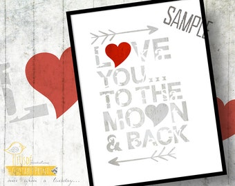 """Love You to the Moon and Back! - RED -  5x7"""" Custom Print, Valentine's Day, Love, Moon, Red, Gray, Hearts, Room Decor, Nursery"""