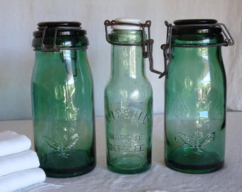 3 Vintage green glass container. Canning jar. French canning jar. LA LORRAINE + L'IDEALE. France. Green glass container. French jar.