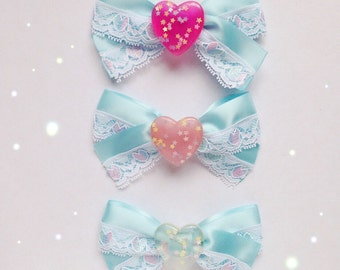 Kawaii Love Heart Lace Bow, Fairy Kei, Sweet Lolita, Pastel Decora, Harajuku etc inspired