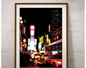 Cab | Cityscape Art, City Lights, City At Night, Street Photography, Taxi Cab, Yellow Cab, New York City, Car Art, Decoration, Poster, Print