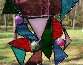 Multi colored stained glass collage