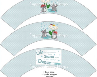 Dance In The Rain Mouse Inspirational Cupcake Wrappers, Life Is Not Waiting For the Storm to Pass, It's about Learning to Dance in The Rain