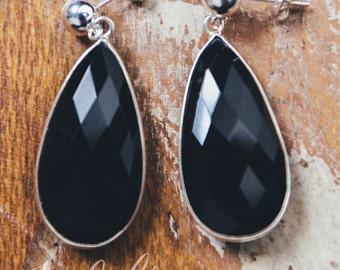 Black Onyx Natural Gemstone Drop Earrings