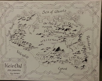 Skyrim map, hand-drawn caligraphy on canvas