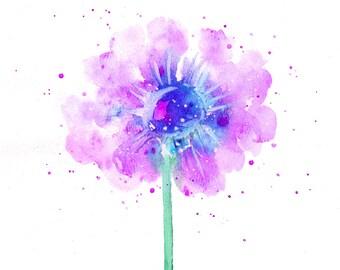 Purple flower art print, flower minimalism, flower watercolor, beautiful flower painting, flower wall art, flower wall decor, simple flower