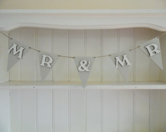 MR & MR Wooden Bunting, Wedding Decor, Reception Decor, Home Decor, Hand painted, Romantic, Civil Partnership, Celebrations, Wall Decor,