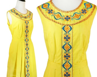 Yellow Embroidered Dress 60s Pleated A-Line Scooter Dress Mod L Sunny Yellow