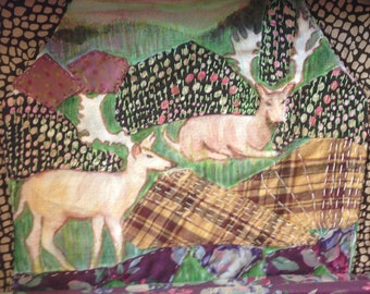 Two Deer Textile Picture mixed media art by Amanda Howse