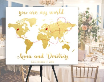 Wedding map guest book etsy gold world map wedding guest book alternative world map guest book canvas or poster gumiabroncs Image collections