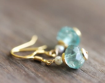Small Fluorite Earrings, Teal Green Gemstone, Teal Gold
