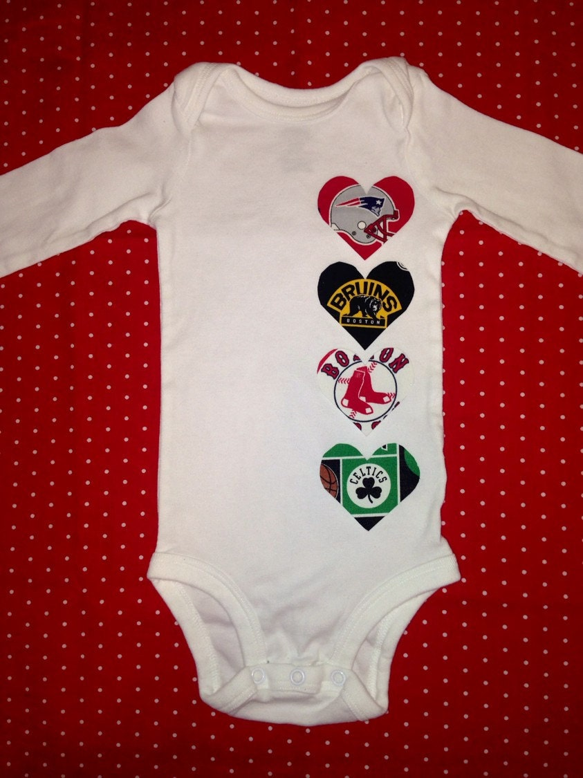 Set Of Four Heart Boston Sports Teams Baby Heart Onesie With
