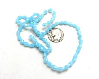 1 Strand Faceted Glass Teardrop Beads 6 x 4mm Sky Blue (B96j14)