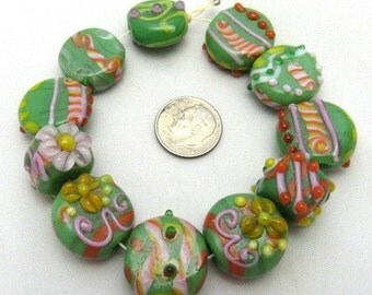 Handmade Lampwork Glass Bead Set - Green (B11)