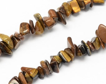 "1 Strand Natural Tiger Eye Stone Chip Beads 35"" (B15)"