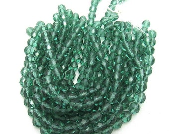 1 Strand 8mm Fire Polished Faceted Round Czech Glass Beads Prairie Green (B29b)