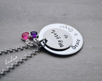 Personalized daughters name baby necklace - My girls Hand stamped Stainless Steel jewelry - Lulu Stamped personalized gifts for mom / friend