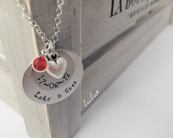 Valentine's day gifts for her Personalized Love heart Names and date necklace - Hand stamped jewelry - custom jewelry - Couple Necklace