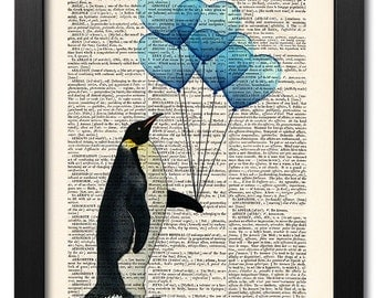 Love print, Penguin funny animal, Dictionary art print, Art poster, Vintage book print, Old book page, Home Wall Decor, Wall art [ART 009]