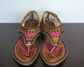 Hand Embroidered Rajasthani Sandals - Pink/Green/Purple