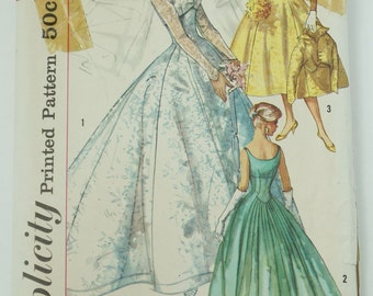 Uncut 1950S Simplicity Paper Sewing Pattern 2066 Bridal Wedding Gown Pattern, Evening Dress And Jacket, Size 12 Bust 32