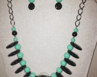 Black & Aqua Necklace with matching earrings
