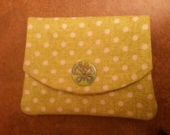 Green Polka dot wallet