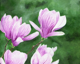 "Magnolia, Original 8"" x 10"" Acrylic Painting on Canvas by Teresa Thompson"