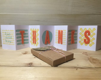 Handmade Thanks Greeting Card with Craft Paper Box