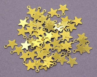 250 Raw Brass Star Charms | Star Pendant, Gold Star Pendant, Star Jewelry, Sky Charms, Raw Brass Star, Small Star Charms, Small Star