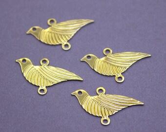 50 Raw Brass Bird Charm Connectors   Gold Bird Charms, Gold Bird Pendant, Brass Bird Pendant, Raw Brass Pigeon