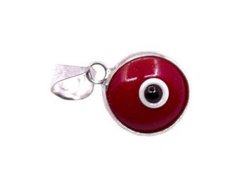 925k Sterling Silver Red Evil Eye Pendant   Evil Eye Jewelry, Evil Eye Charm, Silver Evil Eye, Turkish Evil Eye, Greek Evil Eye Pendant