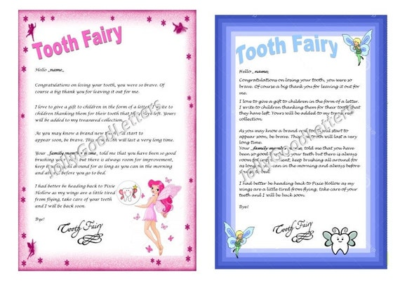 Tooth fairy letter child boy girl toddler by jollygoodletters for Fairy letters to child