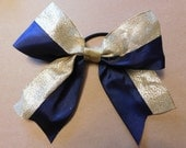"""Navy Blue Grosgrain with Gold Trim - 3"""" wide ribbon.  This bow has no glitter."""