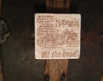 Vintage Motorcycle Coasters Set of 4, Drink Coasters, Stone Coasters, Tile Coasters, Wedding Coasters, Cork Coasters, Rustic Coasters