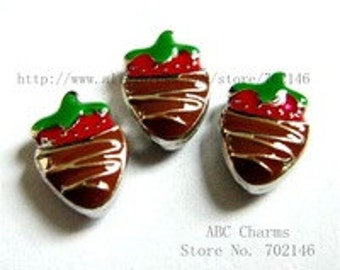 Chocolate Covered Strawberry Memory Locket Floating Charm