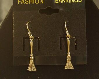 Silver Broom Earrings