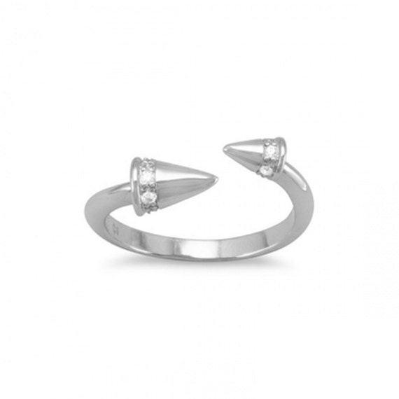 Rhodium Plated CZ Spike Wrap Ring