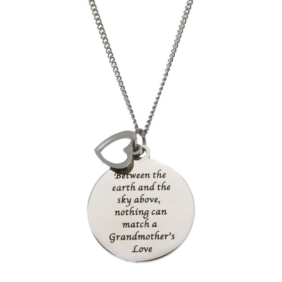 """Between The Earth And The Sky Above Nothing Can Match A Grandmother's Love"""" Grandmother's Pendant Necklace"""
